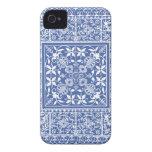 Modelo azul y blanco elegante del renacimiento Case-Mate iPhone 4 cobertura