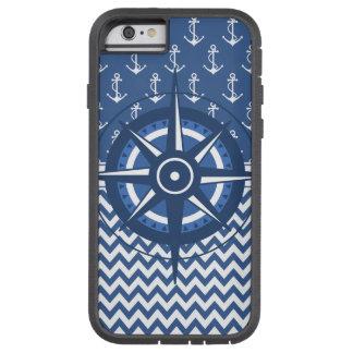 Modelo azul y blanco náutico del ancla y de funda de iPhone 6 tough xtreme