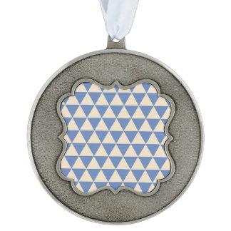 Modelo azul y color crema del triángulo adorno ondulado de peltre