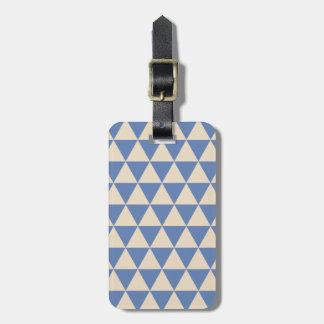 Modelo azul y color crema del triángulo etiquetas de maletas