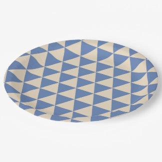 Modelo azul y color crema del triángulo plato de papel de 9 pulgadas