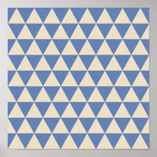 Modelo azul y color crema del triángulo póster