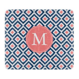 Modelo azul y coralino con monograma de los tabla para cortar