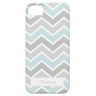 Modelo azul y gris de Chevron del zigzag iPhone 5 Case-Mate Coberturas