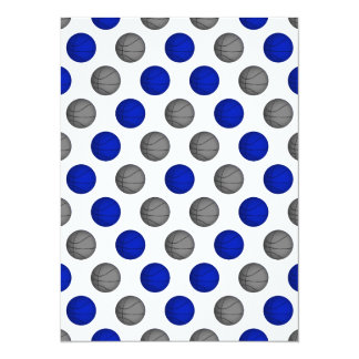 """Modelo azul y gris del baloncesto invitación 5.5"""" x 7.5"""""""