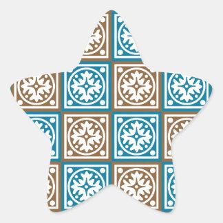Modelo azul y marrón de los cuadrados pegatina en forma de estrella