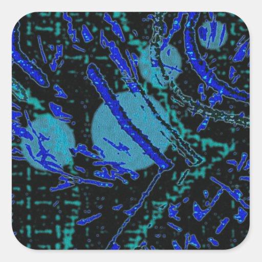 Modelo azul y negro de Techno celestial Pegatina Cuadrada