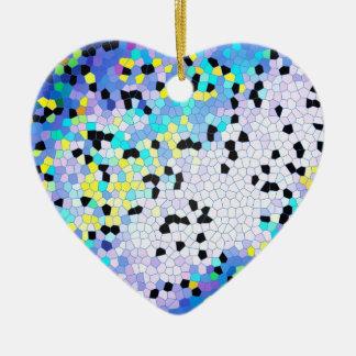 Modelo azul y negro del bígaro púrpura de mosaico adorno de cerámica en forma de corazón