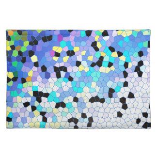 Modelo azul y negro del bígaro púrpura de mosaico manteles individuales