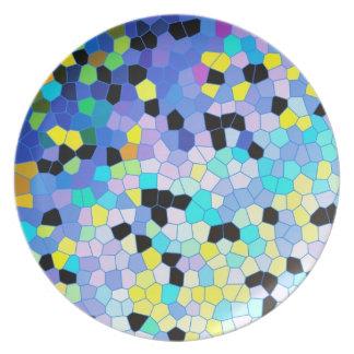Modelo azul y negro del bígaro púrpura de mosaico plato de comida