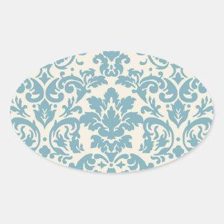 modelo azul y poner crema del flourish del damasco calcomanía de oval
