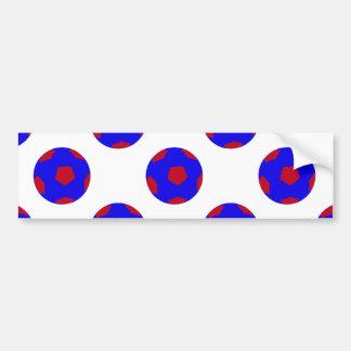 Modelo azul y rojo del balón de fútbol etiqueta de parachoque