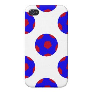 Modelo azul y rojo del balón de fútbol iPhone 4/4S fundas