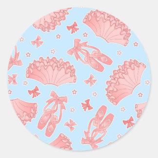 Modelo azul y rosado de la estrella del ballet etiqueta redonda