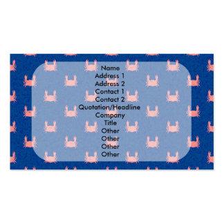 Modelo azul y rosado del cangrejo tarjetas de visita