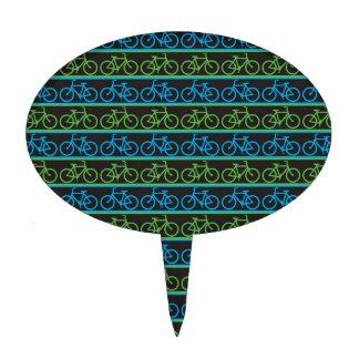 Modelo azul y verde de la bicicleta de la bici figuras para tartas