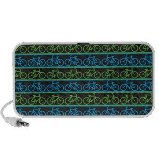Modelo azul y verde de la bicicleta de la bici iPod altavoz