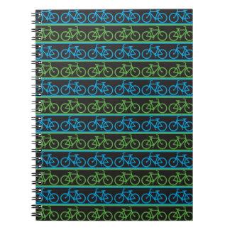 Modelo azul y verde de la bicicleta de la bici libretas
