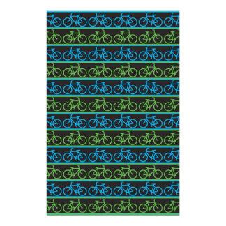 Modelo azul y verde de la bicicleta de la bici papelería personalizada