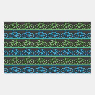 Modelo azul y verde de la bicicleta de la bici pegatina rectangular