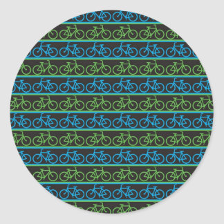 Modelo azul y verde de la bicicleta de la bici pegatina redonda