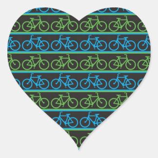 Modelo azul y verde de la bicicleta de la bici pegatina en forma de corazón