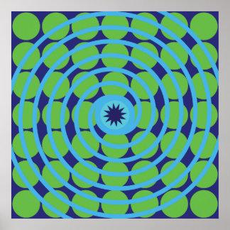 Modelo azul y verde de la diversión del remolino d póster