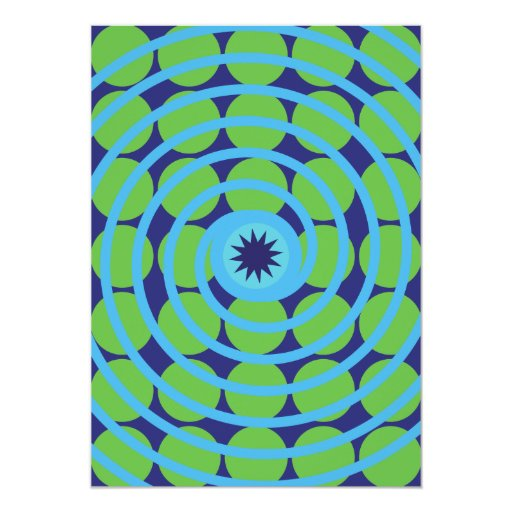 Modelo azul y verde de la diversión del remolino invitación 12,7 x 17,8 cm