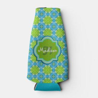 Modelo azul y verde de la mandala del monograma enfriador de botellas