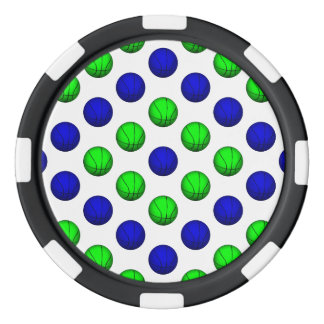 Modelo azul y verde del baloncesto juego de fichas de póquer