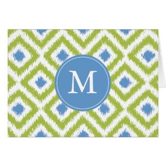Modelo azulverde con monograma de Ikat de los diam Tarjeta Pequeña