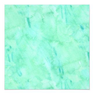 """Modelo azulverde de la textura de la acuarela de invitación 5.25"""" x 5.25"""""""