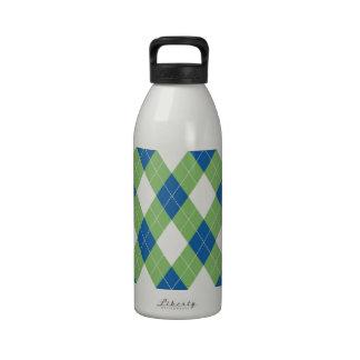 Modelo azulverde del argyle botella de agua