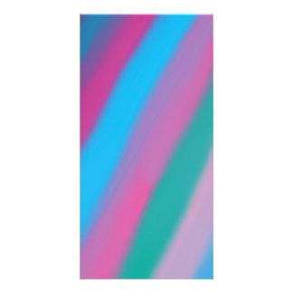Modelo azulverde rosado de neón de las rayas tarjetas fotograficas personalizadas