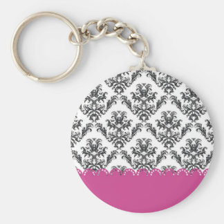 Modelo B&W of the vintage one with rose Basic Round Button Keychain
