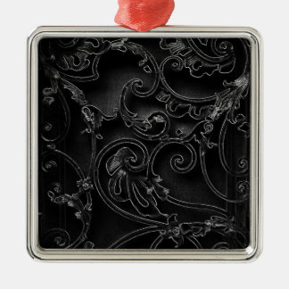 Modelo barroco gótico negro del remolino adorno cuadrado plateado
