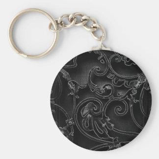 Modelo barroco gótico negro del remolino llavero redondo tipo pin