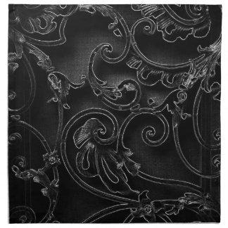 Modelo barroco gótico negro del remolino servilletas