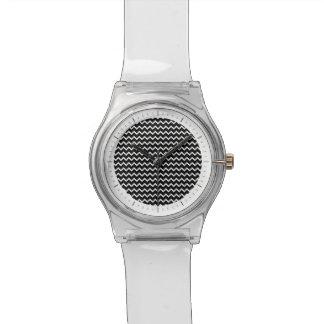 Modelo básico de Chevron en blanco y negro Relojes De Mano