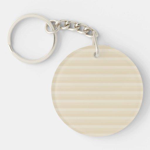 Modelo beige de la raya del color del moreno llavero redondo acrílico a doble cara
