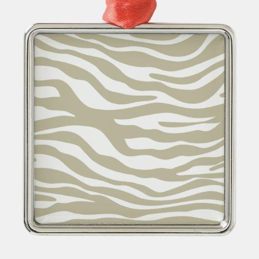 Modelo beige de moda del estampado de zebra adorno cuadrado plateado