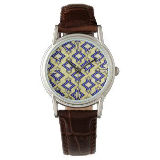 Modelo, beige y azul del papel pintado del art relojes de mano