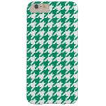 Modelo blanco #2 de Houndstooth del verde de jade Funda De iPhone 6 Plus Barely There