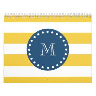Modelo blanco amarillo de las rayas monograma de calendarios