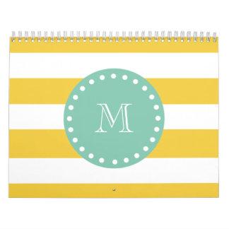 Modelo blanco amarillo de las rayas monograma de calendario