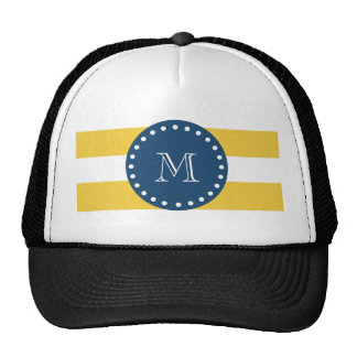 Modelo blanco amarillo de las rayas, monograma de  gorras