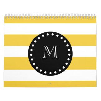 modelo blanco amarillo de las rayas monograma neg