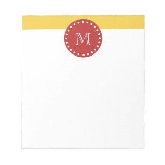 Modelo blanco amarillo de las rayas, monograma roj blocs