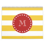 Modelo blanco amarillo de las rayas, monograma roj calendarios