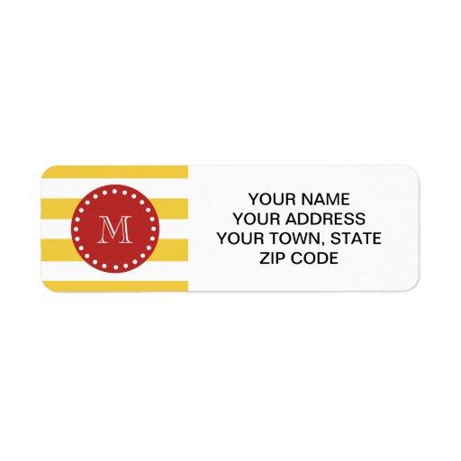 Modelo blanco amarillo de las rayas, monograma roj etiqueta de remite